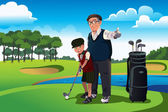 Grandfather teaching his grandson playing golf — Stock Vector