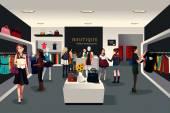 Tienda de ropa moderna interior — Vector de stock