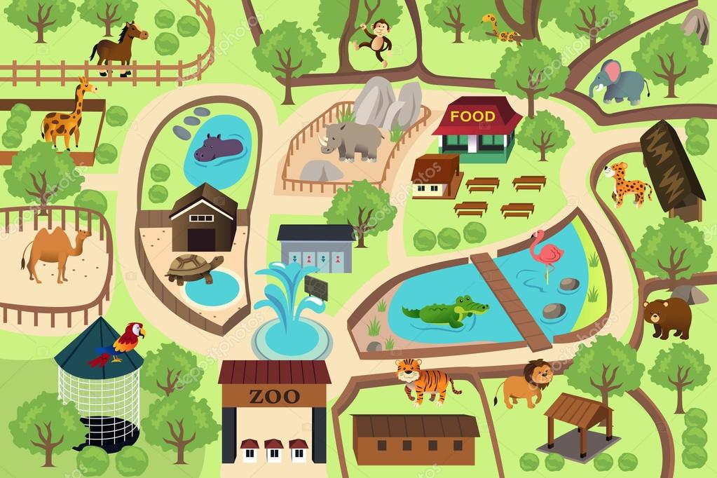 Map Of A Zoo Park Stock Vector Artisticco 59221783