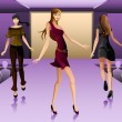 Постер, плакат: Supermodels walking on a runway show
