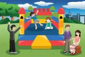 Kids playing in a bouncy house — Stock Vector