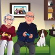 Elderly couple playing games at home — Stock Vector #61993131