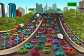 Traffic on a highway — Stock Vector
