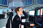 Stock trader in stress — Stock Vector