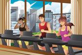 Pessoas correndo em esteiras — Vetorial Stock