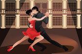 Couple dancing tango — Stock Vector