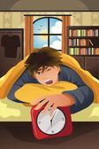 Sleeping man turning off alarm — Stock Vector