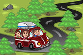 Family on a road trip — Stock Vector