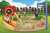 Children playing in the playground — Stock Vector