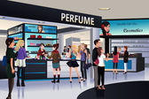 Shoppers shopping for cosmetic in a department store — Vector de stock