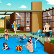 Family and friends spending time in the backyard swimming pool — Stock Vector #64553881