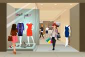 Woman shopping in a mall — Stock Vector