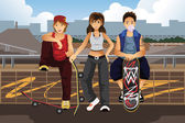 Young people hanging out outside with skateboard — Stock Vector