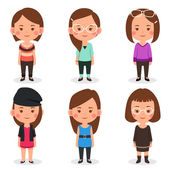 Women avatars in different outfits — Stock Vector