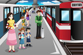 People waiting in a train station — Stock Vector