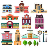 Buildings and lamp post icons — Stock Vector