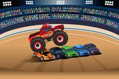 Camion di mostro saltando sulle automobili — Vettoriale Stock