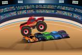 Monster truck jumping on cars — Stock Vector