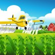 Crop duster flying over a field — Stock Vector #68410303