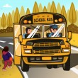 School bus driver and kids — Stock Vector #68959095