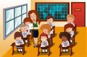 Studenten, die eine Prüfung — Stockvektor