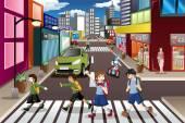 Kids crossing the street — Wektor stockowy
