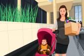 Mulher grávida deixando seu emprego para cuidar de seu bebê — Vetor de Stock