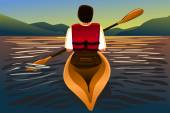 Man riding a kayak in the lake — Stock Vector
