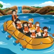 Kids rafting in a river — Stock Vector #73494941