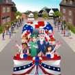 Kids in a Parade Celebrating Fourth of July — Stock Vector #75306041