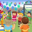 Clown at a kids birthday party — Stock Vector #76787025