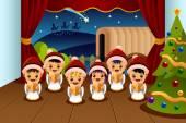 Bambini che cantano canti natalizi — Vettoriale Stock