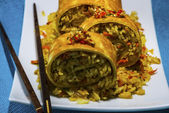 Asian curry rice roll — Stock Photo
