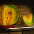 Sliced ripe spanspek or sweet melon — Stock Photo #61400171