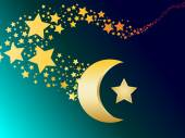 Muslim gold star and crescent vector illustration — Stock Vector