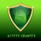 Fingerprint on scanner access granted vector illustration — Stock Vector