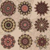 Set of 9 mandalas — Stock Vector