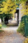 Sidewalk in a city in autumn — Stock Photo
