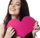 Woman beauty with heart — Zdjęcie stockowe