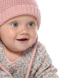Baby little girl portrait in pink warm hat — Stock Photo