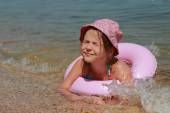 Little girl in panama swiming — Foto Stock