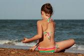 Little girl over the Black Sea — Stock Photo