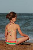Girl over the Black Sea — Stock Photo