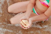 Seashell in kid hand — Stock Photo