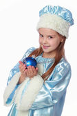 Russian Snow Maiden on a white background — Stock Photo
