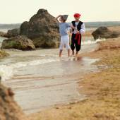 Fancy Dress Pirates on Holiday — Stock Photo