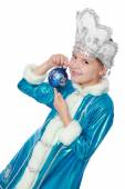 Russian Snow Maiden on a white background for Christmas — Stock Photo
