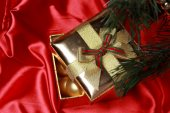 Golden glass decorationsas a present on Holiday theme — Stock Photo