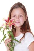 Zambak güzel gülümseyen kız — Stok fotoğraf