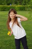 Beautiful kid outdoor, Moscow, Russia — Stock Photo